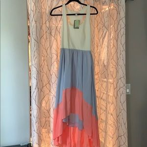 Anthropologie color block high low dress